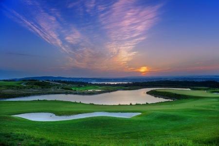 Tombé du jour sur le golf Royal Obidos au Portugal