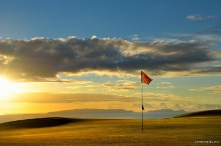Green, drapeau et coucher de soleil sur le parcours de Palheiro